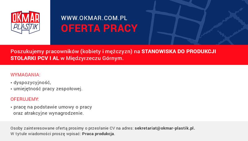 Praca na produkcji w firmie OKMAR-PLASTIK