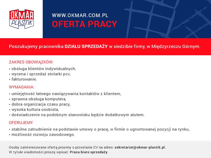 Oferta pracy na stanowisku handlowiec w firmie OKMAR-PLASTIK